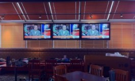 Floating TVs in a Window – South Hill Boston Pizza Installation